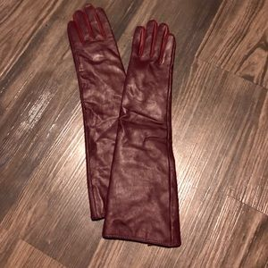 Wine Colored Faux Leather Gloves